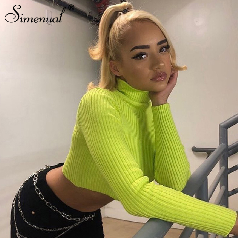 Simenual Ribbed Solid Basic Women Crop Top Long Sleeve Turtleneck Fashion Autumn T Shirts Casual Buckles Belt Slim Female Tops