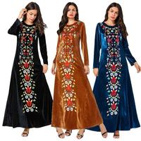 Women Embroidery Abaya Velvet Kaftan Vintage Long Sleeve Dress Muslim Jilbab Dubai Gown Party Robe Arab Abayas Islamic Clothing