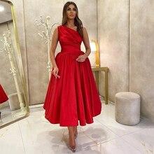Red A Line Prom Dresses Sexy One Shoulder Sleeveless Formal Evening Party Tea Length Vestidos De Fiesta Plus Size