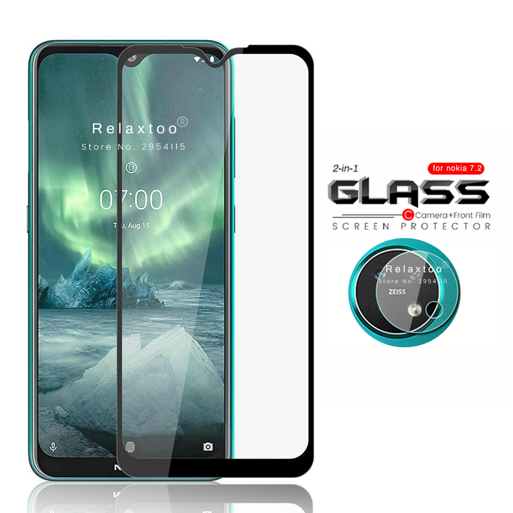2-in-1 Camera Lens Tempered Glass Protector For Nokia 7.2 Protective Glass On Nokia7.2 Nokai 7.2 Armored Tremp Film Protection