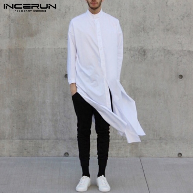 INCERUN Men Long Shirt Solid Stand Collar Long Sleeve Button Up Tops Chic Fashion Indian Brand Shirts Men Streetwear 2019 S-5XL