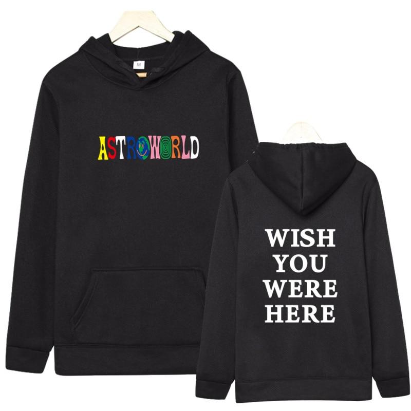 Fashion ASTROWORLD Hoodies Men/Women Sweatshirt Hip Hop Hooded Print ASTROWORLD Hoodies 2019 Male Sweatshirts Plus Size