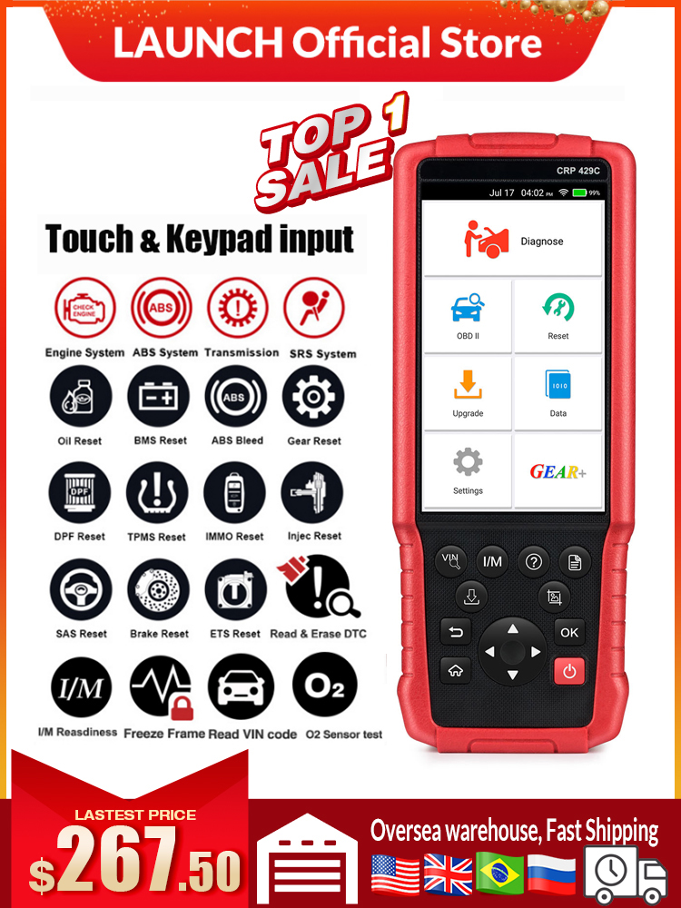 LAUNCH Diagnostic-Tool Reset Airbag IMMO Srs-At-Scanner Easydiag OBD2 CRP429C Professional