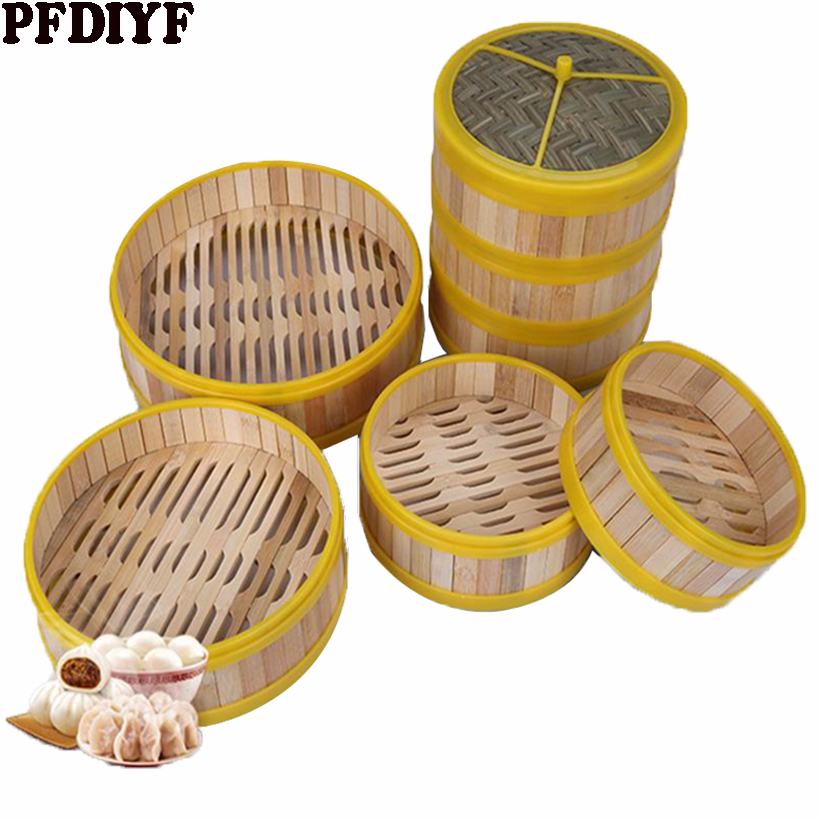 13.5-30cm One Cage Or Lid Cooking Bamboo Steamer For Fish Rice Vegetable Snack Basket Set Dumpling Steamer Kitchen Cooking Tool