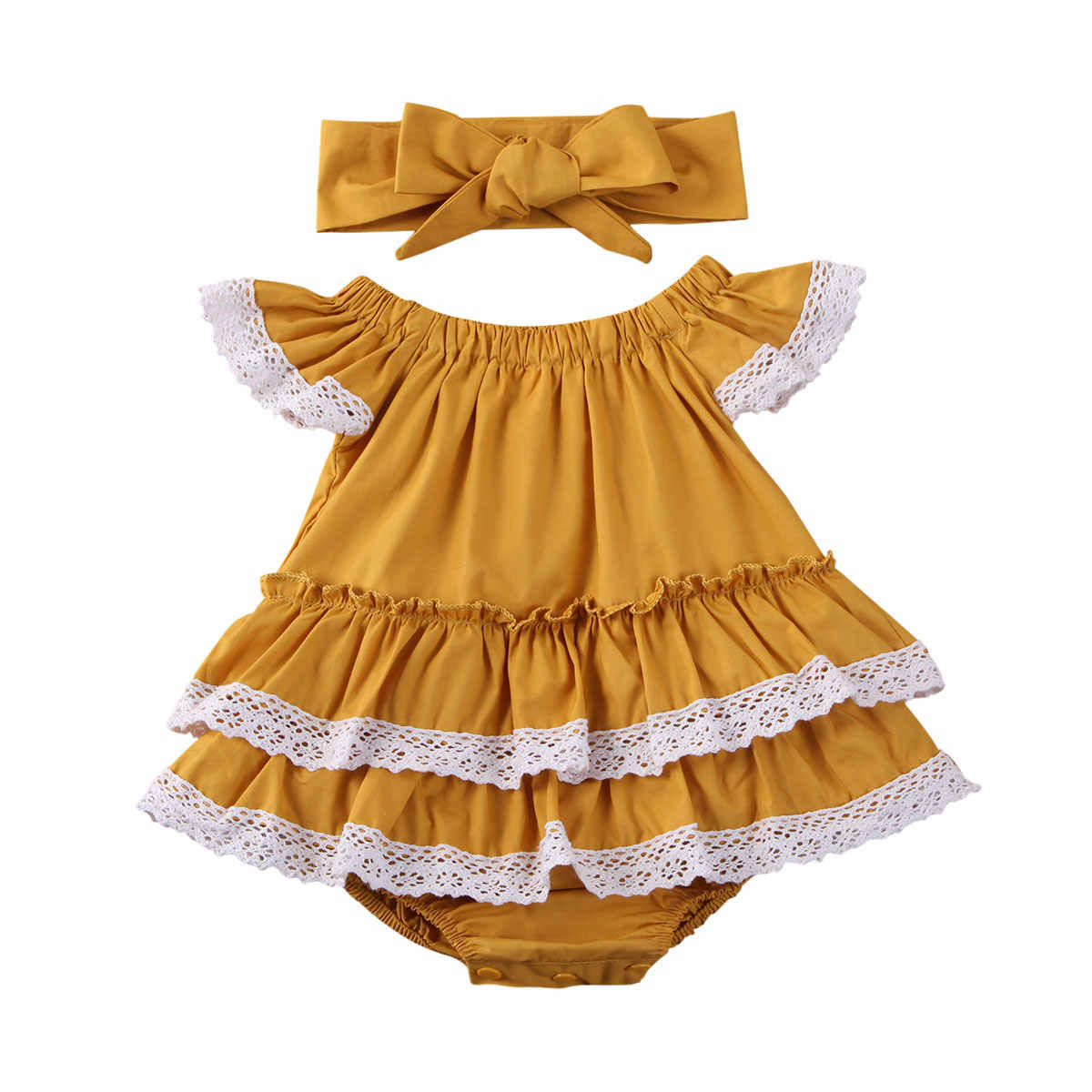 Summer Newborn Baby Girls Lace Bodysuit Ruffles Short Sleeve Yellow Jumpsuit Tops Headband Clothes 0-24M