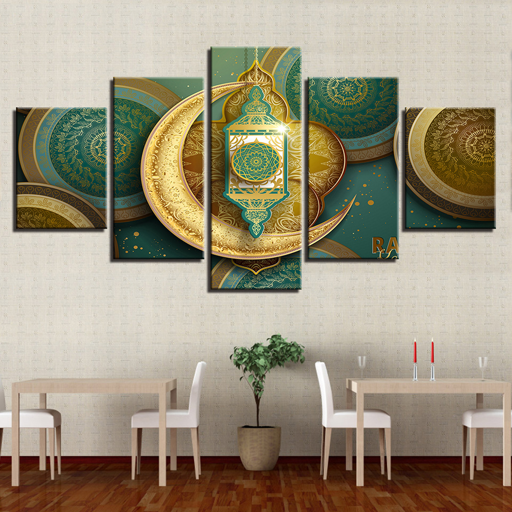 Art Greek Decoration Spray-print Canvas Oil Painting 5-frame Muslim AliExpress Dunhuang Supply Of Goods Cross Border Supply Of G
