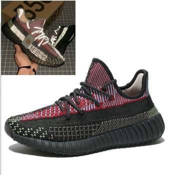 цена на 2020 350 V2 Breathable Running Shoes Static Reflective Men Women Sport Couple Female Angel Star Sneaker Drop Shipping