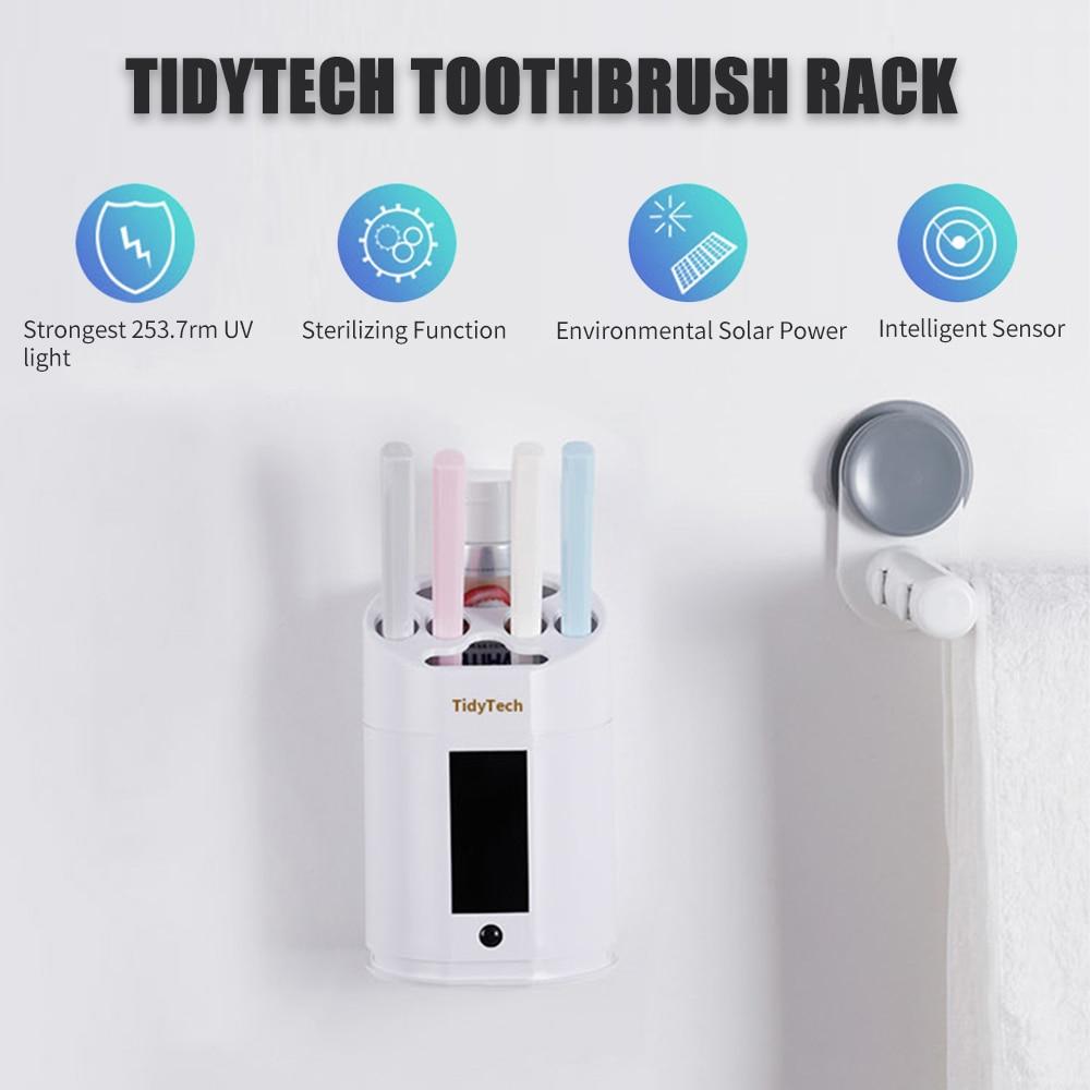 Intelligent Toothbrush Holder UV Light Disinfection Toothbrush Rack Rechargeable Solar Power Toothbrush Holder Bathroom Organize