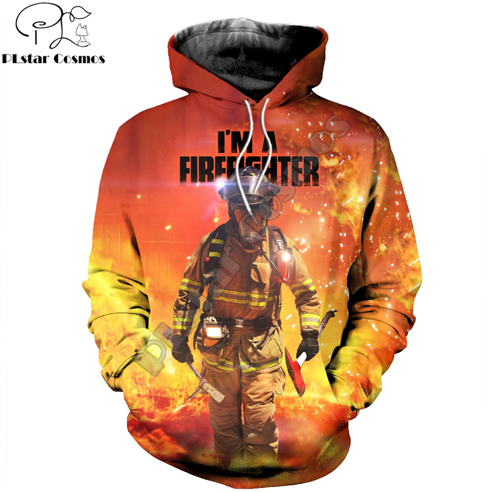 PLstar Cosmos 2019 New Style Fashion Mens Hoodie 3D Printed Firefighter Sweatshirt Unisex Cosplay Costume Harajuku Streetwear