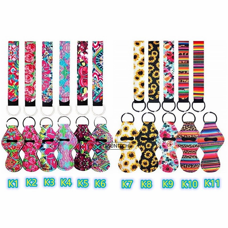 1PC Neoprene Chapstick Holders Lipstick Cases Cover Portable Balm Holders With 1PC Wristlet Lanyards Keychain Party Gifts