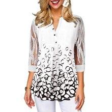 Elegant Office Lady Organza Top Shirt Long Sleeve Women White Print Summer Tshir