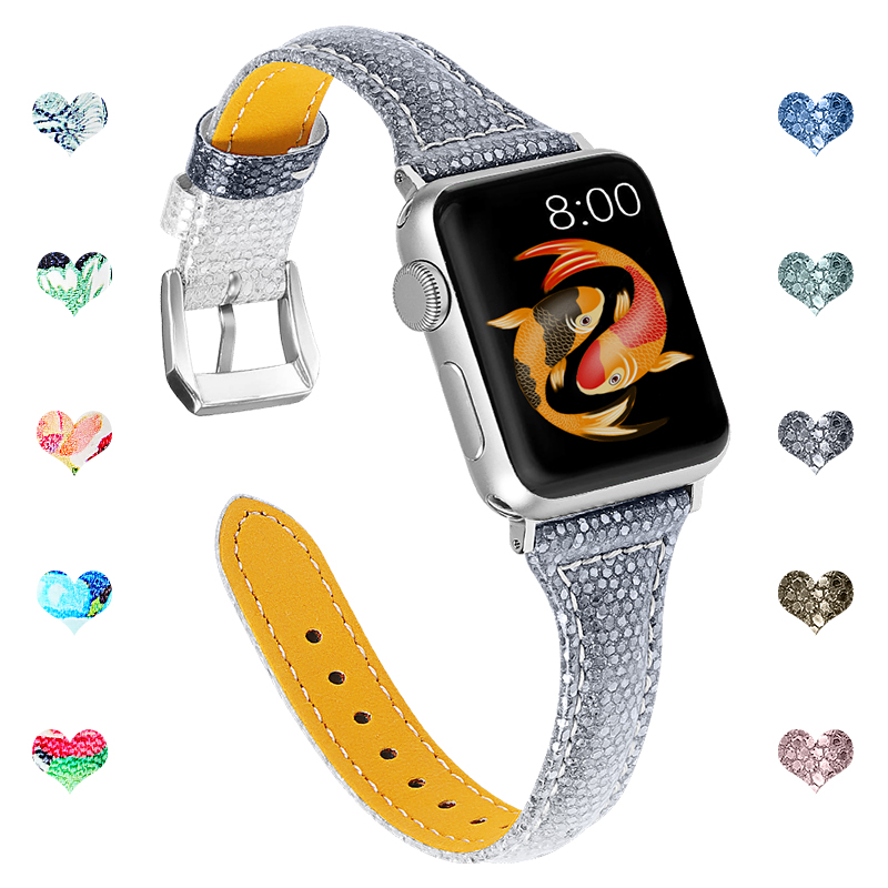 Joyozy Genuine Leather For Apple Watch Band 38mm/40mm/42 Mm/44 Mm Straps Belt Leather Iwatch Series For Apple Watch 5/4/3/2/1