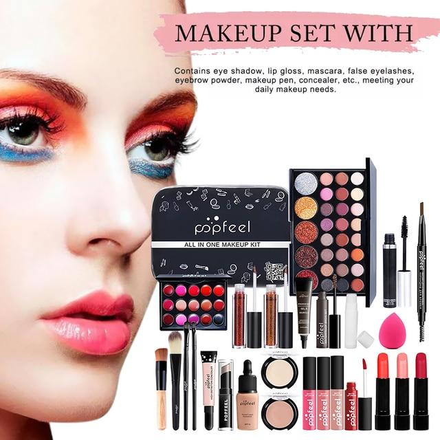 Conjunto de maquillaje profesional para niñas principiantes, caja de almacenamiento portátil para viajes, 27 Uds. 3