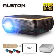 ALSTON M8S Full HD 1080P проектор 4K 6500 люмен кинопроектор проектор Android WiFi Bluetooth hdmi VGA AV USB с подарком