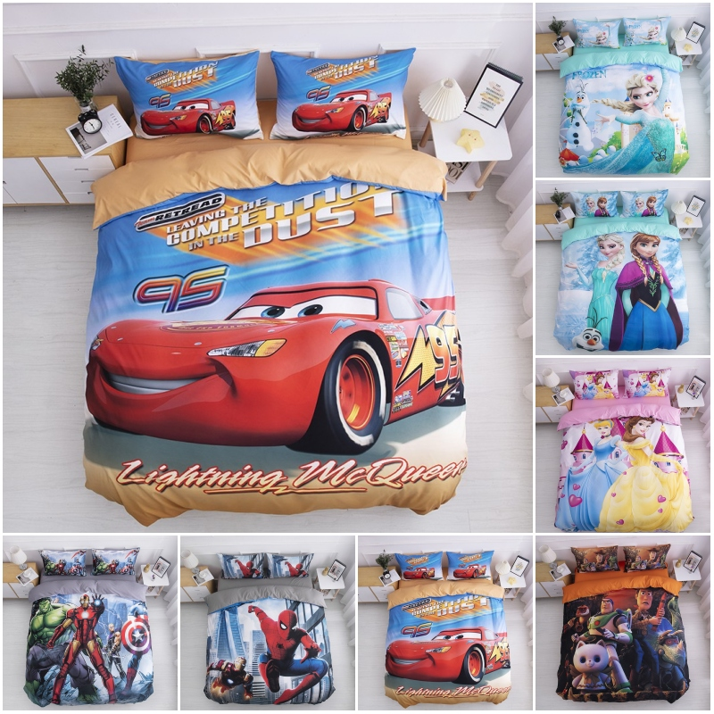 Disney Spiderman Mc Queen Car Baby Bedding Set Duvet Cover Pillowcases For Kids Children Boys Bedclothes Birthday Gift 2020