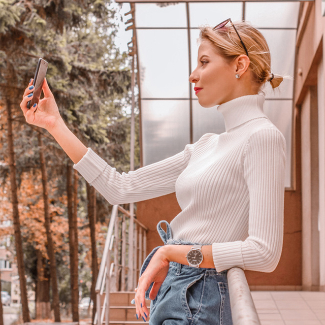 2020 AUTUMN Winter women Knitted Turtleneck Sweater Casual Soft polo-neck Jumper Fashion Slim Femme Elasticity Pullovers 2