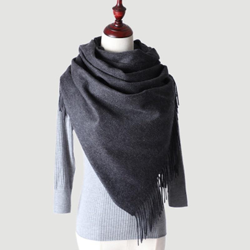 Men Winter Warm Soft Crinkle Shawl Scarve Men/'s Fringe Plain Solid Scarf Wrap