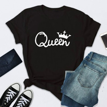 Shirt Tops Camisetas Short-Sleeve Letter-Print Queen Women Tee O-Neck Summer Mujer