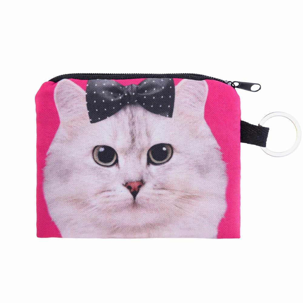 Novas carteiras bonito gato rosto zíper moeda bolsa feminina menina impressão mudança criança bolsa de maquiagem saco embreagem carteira telefone chave sacos #35