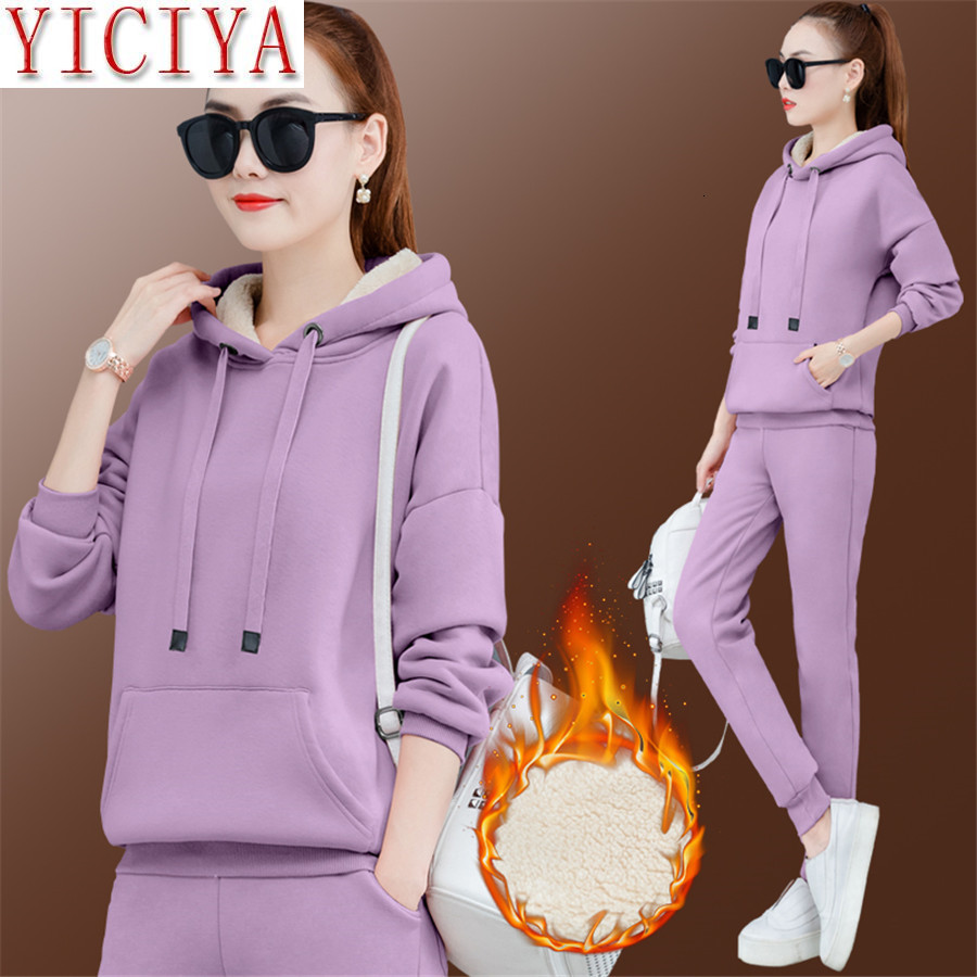 Purple Velvet 2 Piece Set Tracksuit For Women Outfits Hoodies Top And Pant Suit Plus Size Large Warm Thick Matching Sets Winter