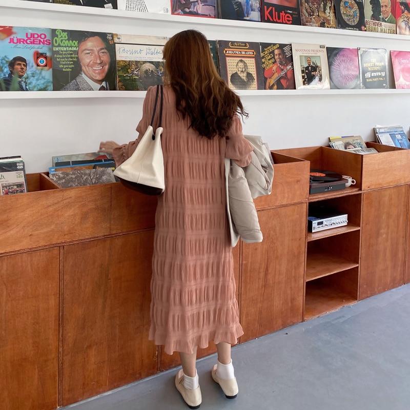 Ha4011b902a104b27904e8d6117a3fceaQ - Autumn Korean O-Neck Flare Long Sleeves Chiffon Pleated Midi Dress