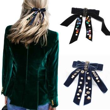 Awaytr moda arco borla pérola diamante grampos de cabelo para mulheres geométrico veludo hairpin feminino retro acessórios para o cabelo