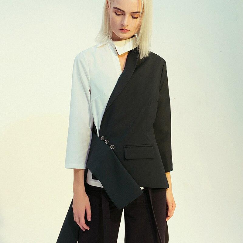 Blazer Feminino Colorblock Spring Autumn 2020 Asymmetric Women Blazer Coat