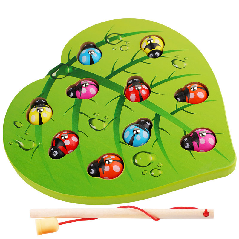 Kids Early Educational Montessori Toys Magnetic Color Leaf Catch Insect Snapping Ladybug Parent-Child Game Wooden Toy Gifts
