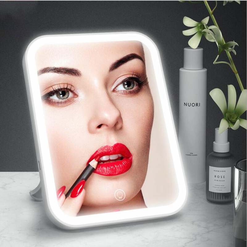 2000aMH Portable Makeup Mirror LED Vanity Mirror USB Recharge Adjustable Table Lamp Brightness Dimmable For Man Women Dressing