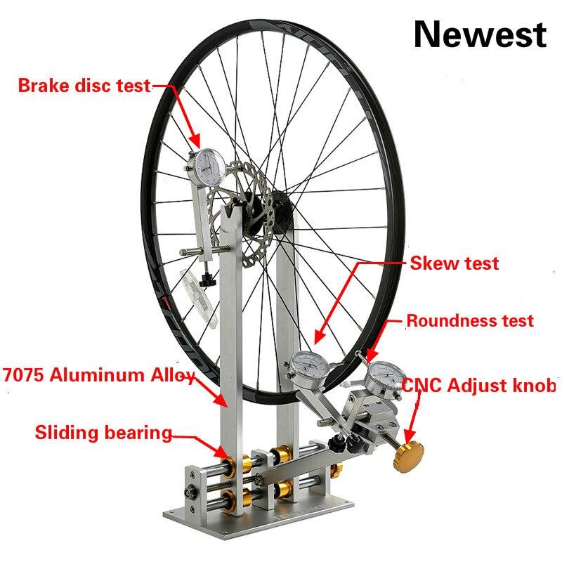 מקצועי אופניים גלגל TRUING עמוד עם חיוג מחוון מד סט התאמת חישוקים MTB כביש אופני גלגל תיקון כלים