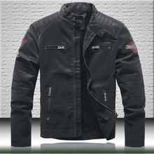 Men Jackets Biker-Leather Coats Winter Casual Black Thick Embroidery Quality