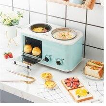 3 в 1 электрическая бытовая машина для завтрака, мини тостер для хлеба, духовка для выпечки, омлета, сковорода, горячий чайник, пароварка еды, ...