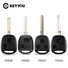 KEYYOU – coque de télécommande de voiture 2BT, pour Toyota Camry Rav4 Corolla Prado Yaris Tarago Cruiser Land, TOY41/TOY43/TOY47/TOY48
