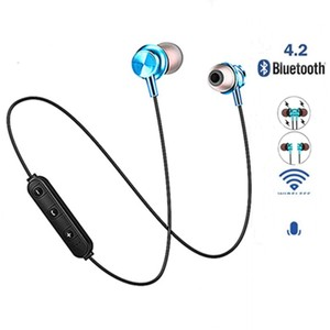 Bluetooth наушники спортивные с шейным ремешком магнитные беспроводные наушники стерео наушники музыкальные металлические наушники с микрофо...