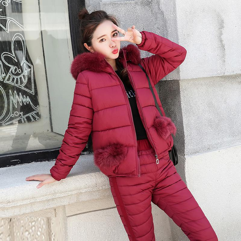2019 Fashion Winter Women Warm Snow Set Hooded Parka Coat+Pant Tracksuit Two Piece Set Female Down Cotton Jacket Suit For Women