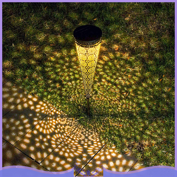 Solar Pathway Projection Lights Waterproof Metal Decorative Stakes Garden Solar Lights Walkway Yard Lawn Patio Conical Lights
