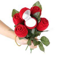 Creative Romantic Rose Ring Box Flower Flocking Holder Velvet Box Packing Jewelry Case for Wedding Propose Engagement Valentine