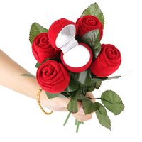 Creative Romantic Rose Ring Box Flower Flocking Holder Velvet Box Packing Jewelry Case for Wedding Propose Engagement Valentine