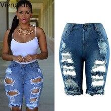 Vieruodis сексуальные женские стильные рваные джинсы с высокой талией, уличные рваные Стрейчевые потертые штаны облегающие, рваные джинсы до колен