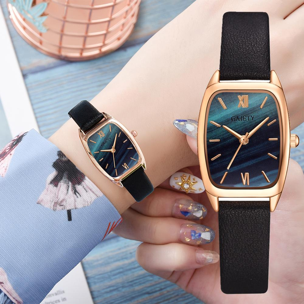 Exquisite small simple women dress watches retro leather female clock Top brand women's fashion mini design wristwatches clock(China)