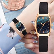 Exquisite small simple women dress watches retro leather fem