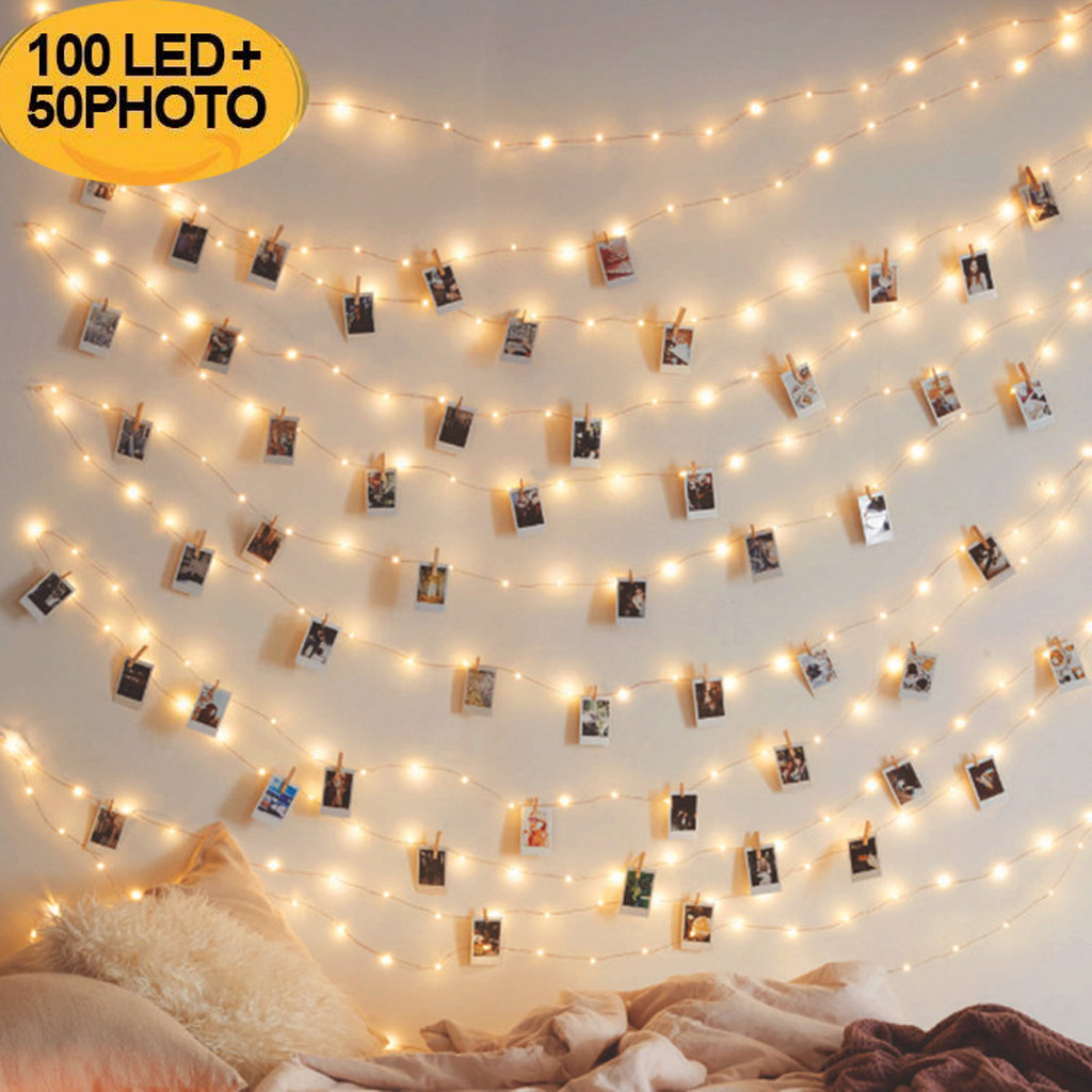 <font><b>10M</b></font> <font><b>100LED</b></font> <font><b>Light</b></font> String for Photo Clip Decor Fairy String <font><b>Lights</b></font> Chain Battery Christmas Copper Wire Lamp Creative Decors #15 image