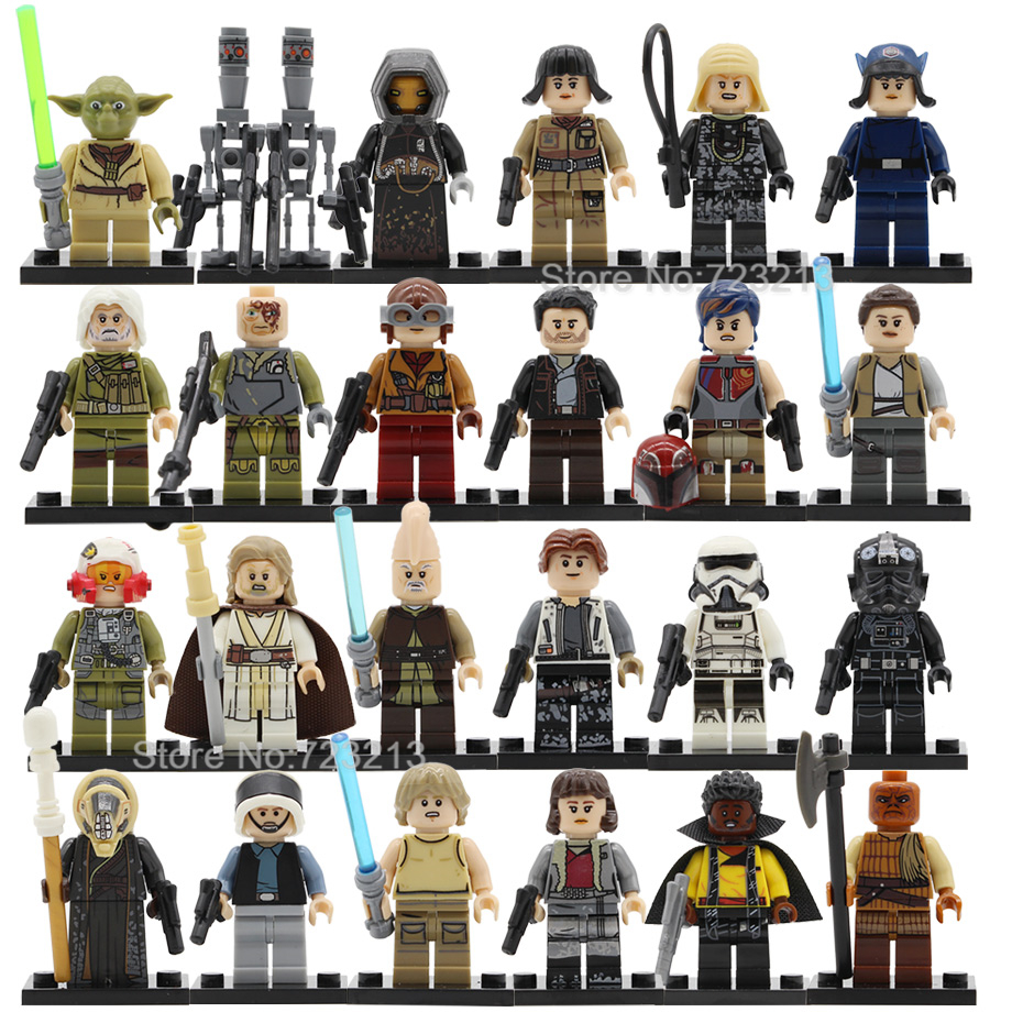 Single Rey Star Wars Ki-Adi-Mundi Figuretrooper Pilot Old Luke Rebel Drivers Model Set Building Blocks Brick Toys starwars