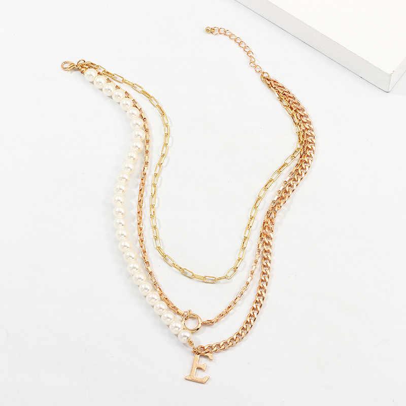 الثلاثي الطبقات سلسلة القلائد النساء مجوهرات الشرير مكتنزة سلسلة المختنق الذهب الأولي E قلادة غير المتماثلة تقليد اللؤلؤ قلادة