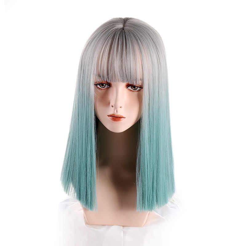 Vigwig peruca sintética senhora prata cinza gradiente aqua azul de comprimento médio em linha reta cabelo cosplay perucas com franja resistente ao calor