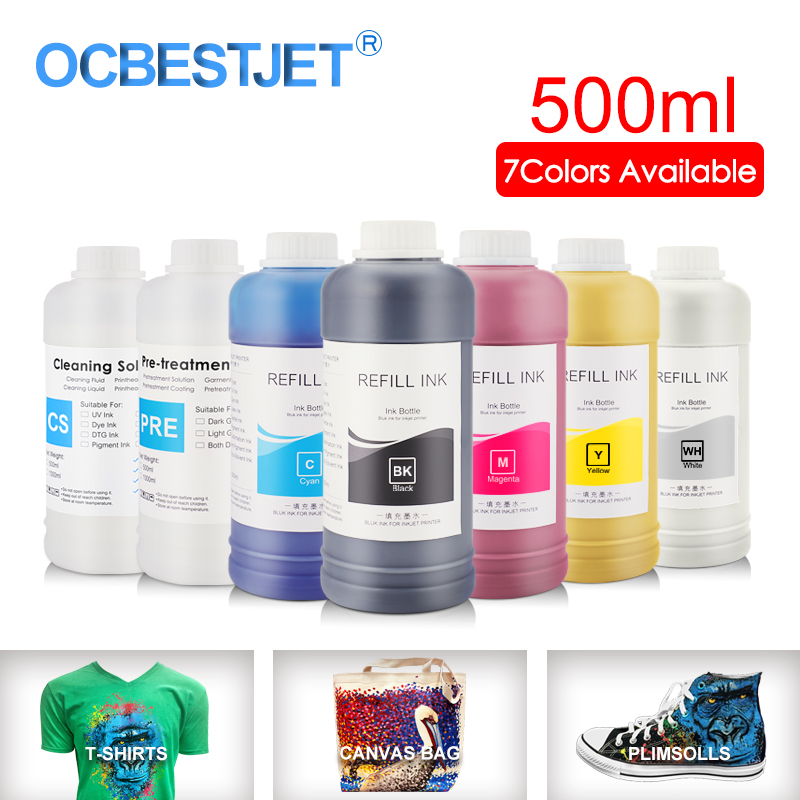 500ML DTG Ink Textile InK Garment Ink For DX4 DX5 DX6 DX7 DX10 Printhead For Epson 1390 R1900 R2000 F2000 F2100 (7Color Optional|Ink Refill Kits| |  - title=