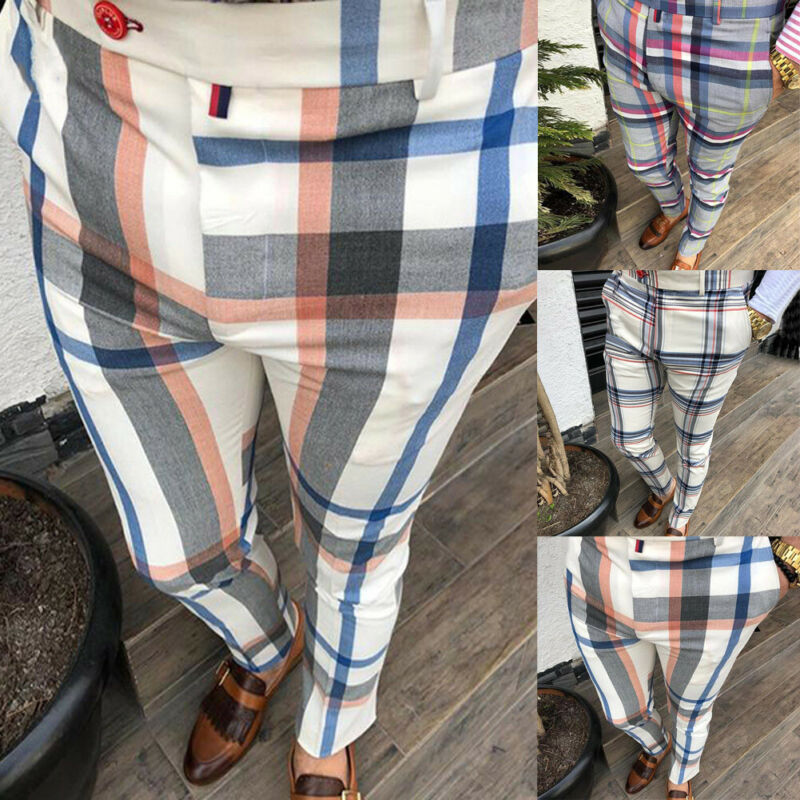 Gym Mens Trousers Plaid Tracksuit Bottoms Skinny Joggers Sweat Track Pants Chinos Trousers Sexy Slim Fit Casual Pants Plus Size