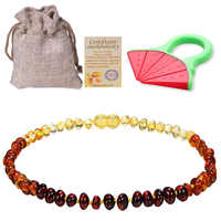 Baltic Ambers Teething Necklace For Babies (Unisex) (Lemon) - Anti Flammatory,Natural Certificated Oval Baltic Jewelry 14-33cm