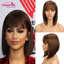 Парики из бразильских человеческих волос Remy для черных женщин, коричневый, красный, смешанный цвет, парик#2#4# 1B синий 99J