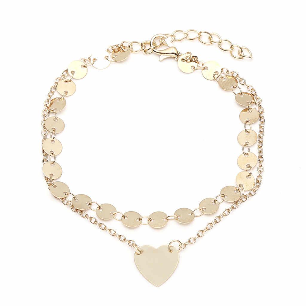 Regulowane obrączki w kształcie serca stopy łańcucha czechy biżuteria plażowa warstwa anklet boso szydełka брациты женские accesorios mujer